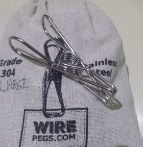 10 large grade 304 ss wire pegs in a hemp bag