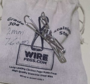 20 longer grade 304 ss wire pegs in a hemp bag