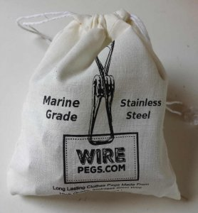 40 grade 316 ss 2mm wire pegs in a cotton bag
