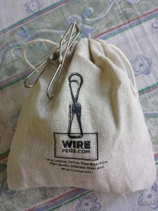 20 very strong grade 201 ss wire pegs in a hemp bag
